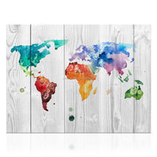 HD 1 Piece Colorful World Map on Canvas Modern Home Wall Decor Map on Woodboard Painting for Hotel Living Room/KL170927-1