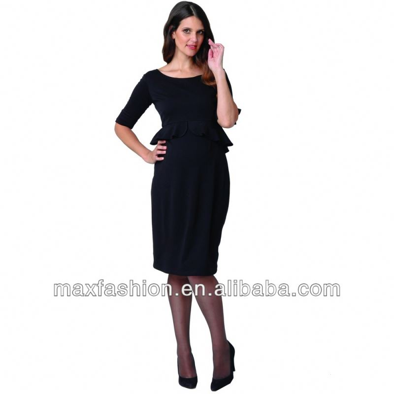 Black Office Ladies Dress Maternity Wear Wholesale Pregnant Women