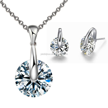 solitaire gemstone necklace earring set platinum plated jewellery