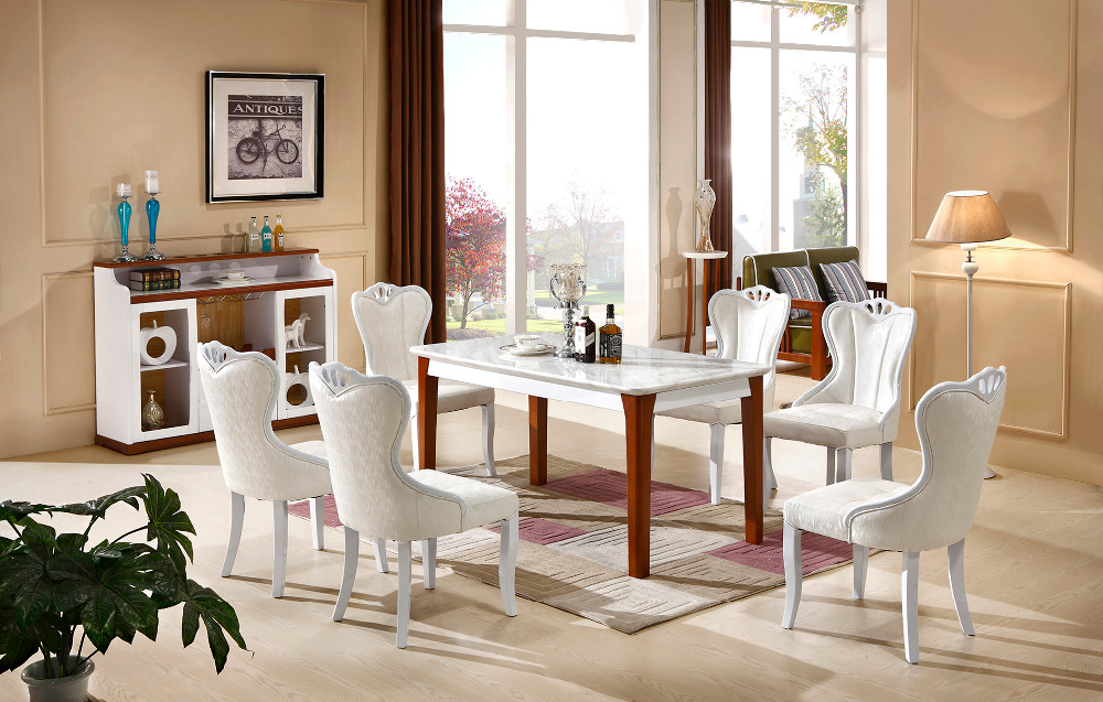 Wood furniture modern style models double color table and chairs