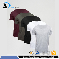Daijun OEM Factory High Quality 180g 100% Oganic Cotton Colorful Round Neck Man Shirt