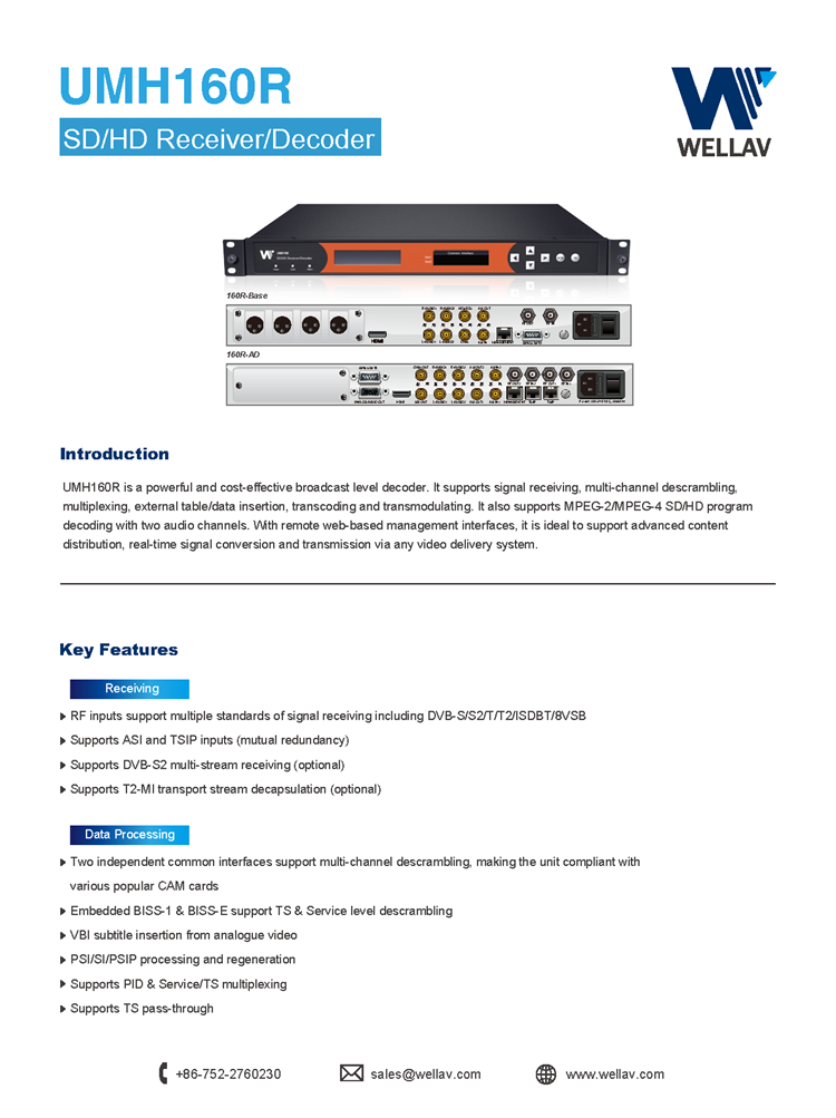 Wellav SD / HD Professional Satellite IRD