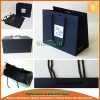 logo printed black kraft paper bag with handles for gift