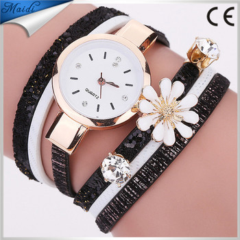 2017 Hot Sale Women Flower Luxury Crystal Gold Bracelet Quartz Wristwatch Rhinestone Watches WW095