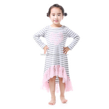 grey&white stripe long sleeve modern dresses baby stylish frock