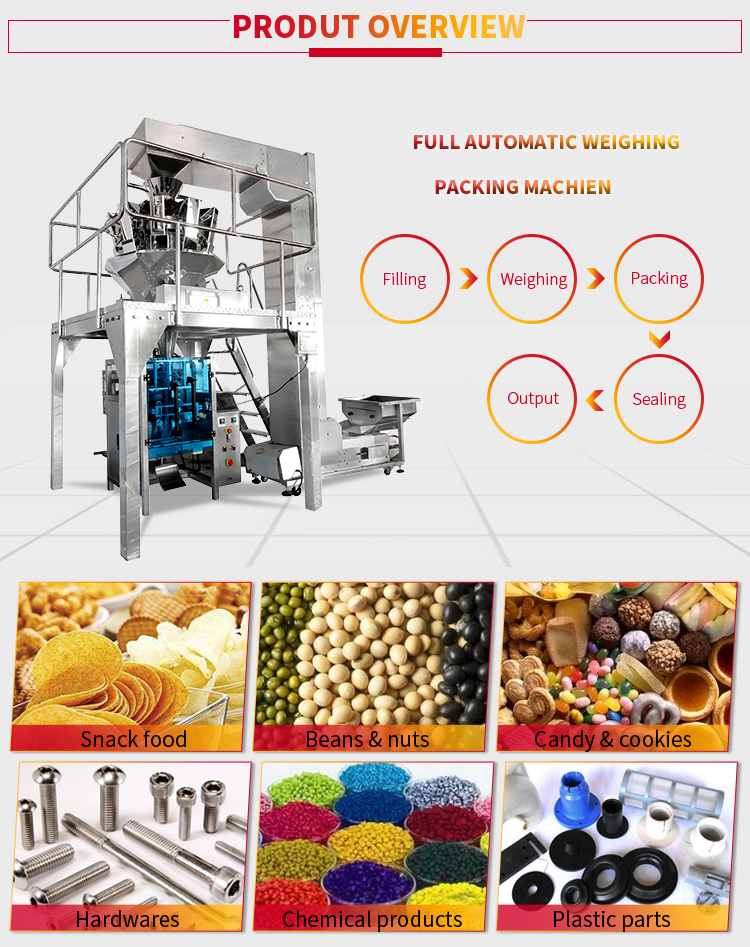 Puffed food potato chips banana chips packing machine of full auto production line