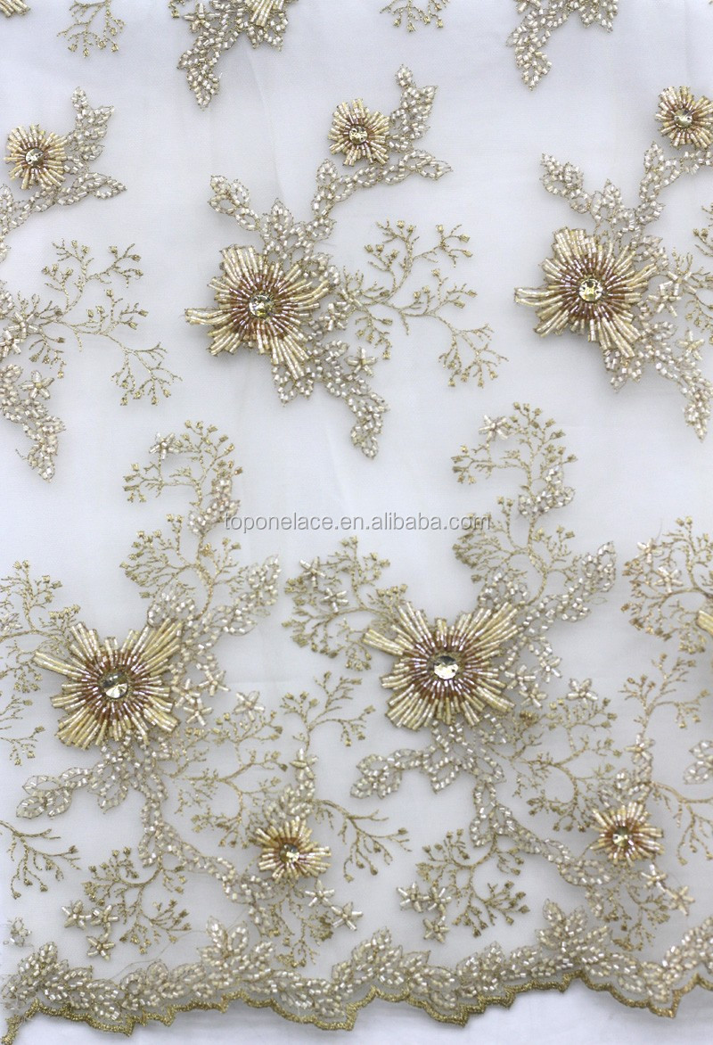 2016 Hand Beaded Lace Heavy Beaded Lace Fabric With