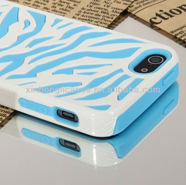 For iPhone 5 Blue White Zebra Tiger Hybrid Hard Soft Case Combo Cover w/ SP