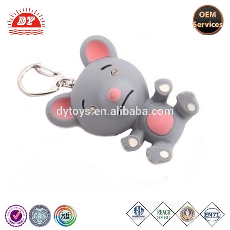 Mouse Plastic LED Flashlight and Sound Keychain