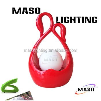 MASO Resin Wedding Bed Furniture Decoration Lamp MS-T2001 Swan Stand Glass Cover
