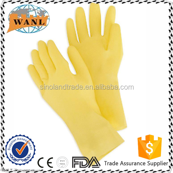 cheap yellow household latex glove for cleaning