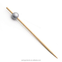 Bamboo Silver Bead Picks 3.5inch