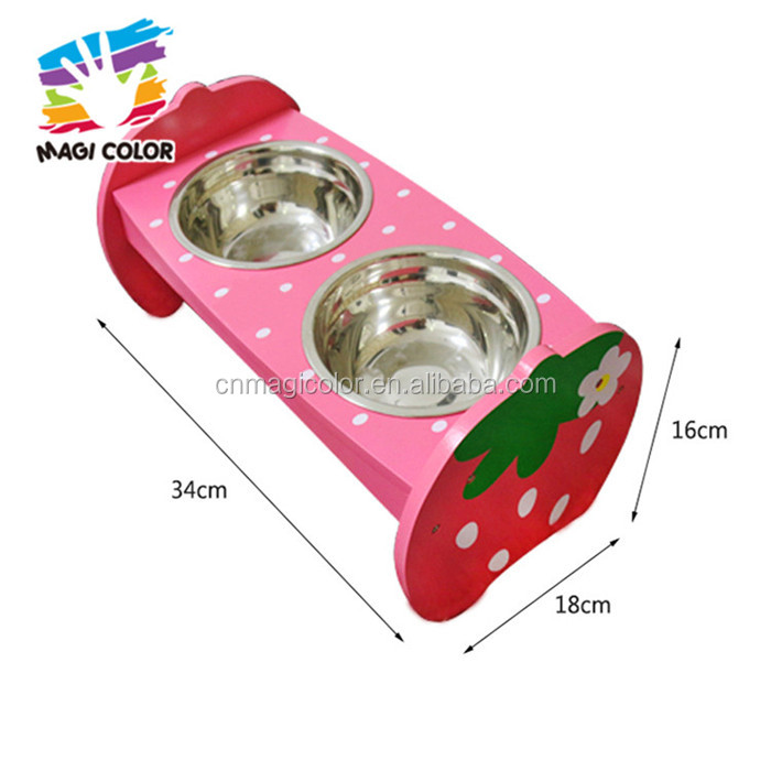 wholesale cheap double stainless steel pet bowls wooden dog feeder high quality wooden dog feeder W06F047