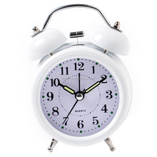 3 inches Metal Double Bell Silent Quartz Classic Alarm Clock