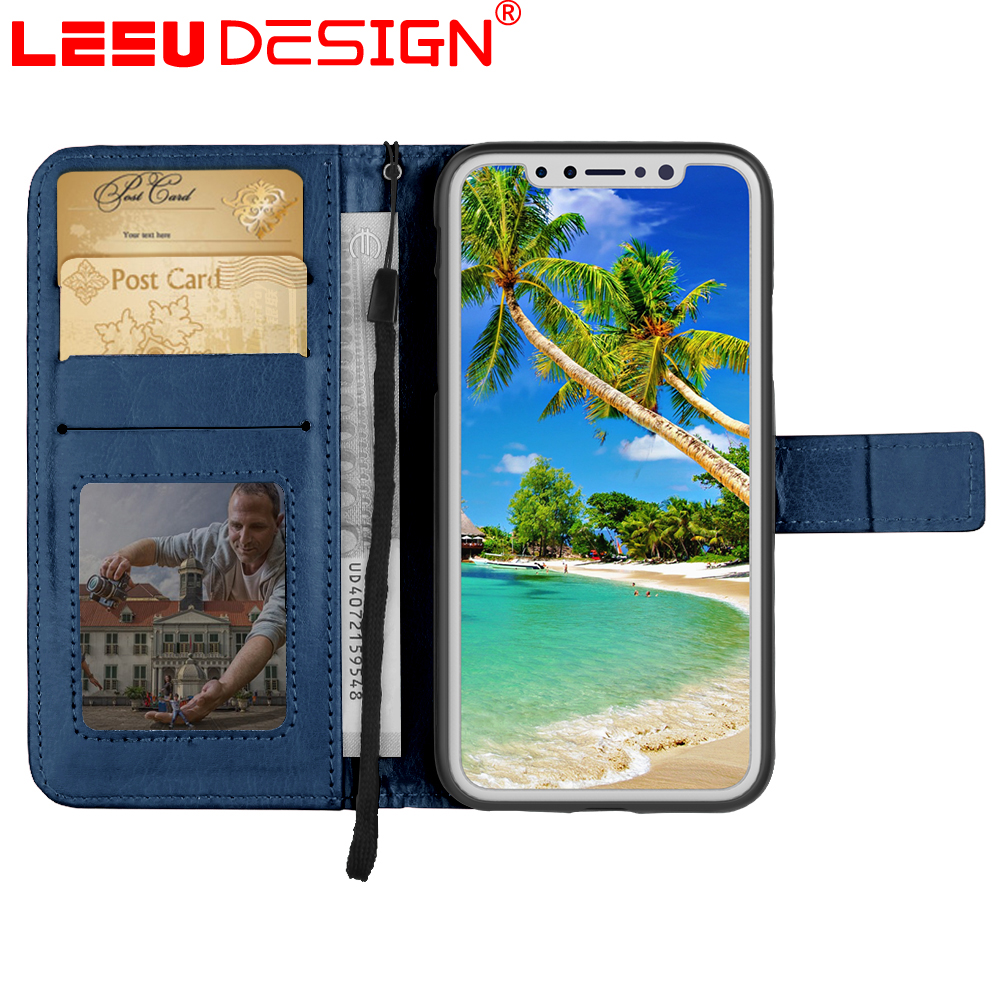Universal Wallet PU Leather Horizontal Holster cell phone case for iphone X