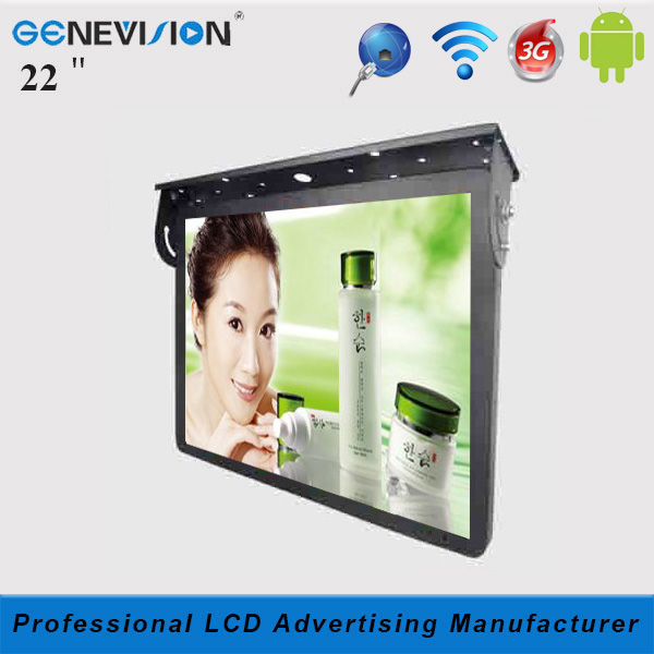 3G/network/wifi Android system 22 inch roof-fixed LCD Advertising Monitor for tour bus