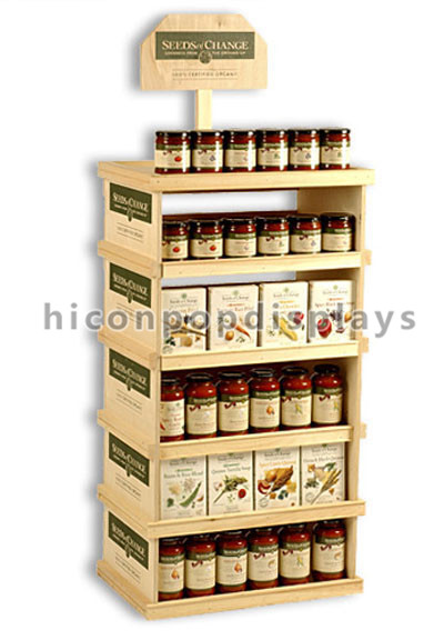 Customized Health Food Wholesale Marketing Flooring Retail Store Rustic Wood Honey Display Stand