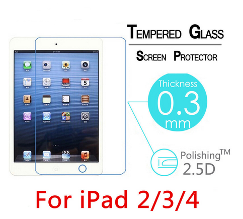 2017 wholesaler 0.3mm 9H Transparent clear tempered glass screen protector for iPad 2/3/4