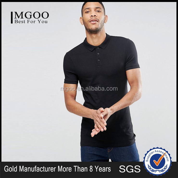 Plain Black Longline Muscle Men Polo Shirt Silm Fit Blank Polo With Your Own Logo Embroideried Basic Polo