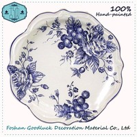 New Products Hand Painted 8 Inch Ceramic Antique White Porcelain Plate