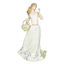 Breezy Spring Time White Lady Ceramic Figurine
