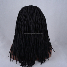 synthetic braided kinky twist hair wigs for black women wholesale cheap synthetic lace front wig black color