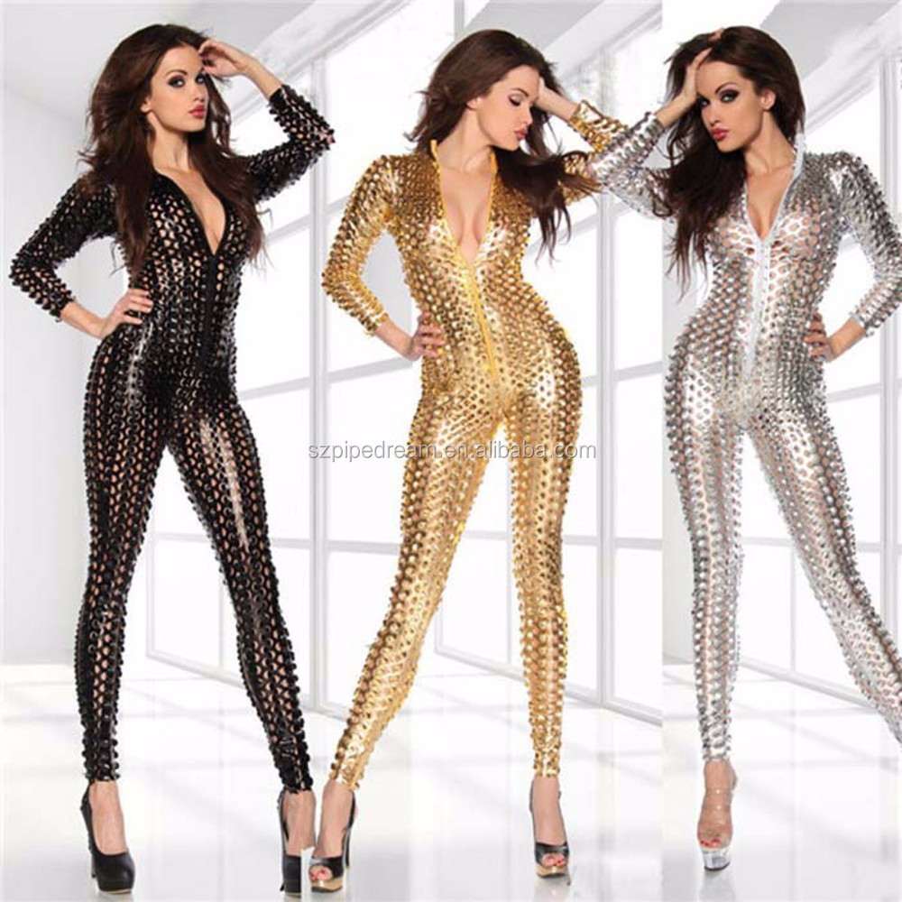 Jumpsuit Erotic Couple Flirt lingerie Dance Wear Paint Leather hollow out tight Package hip scales hole in clothing