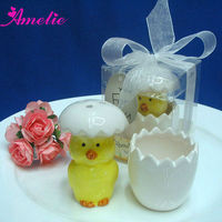 Hote Sale Yellow Color Duck Springer wedding souvenirs salt and pepper