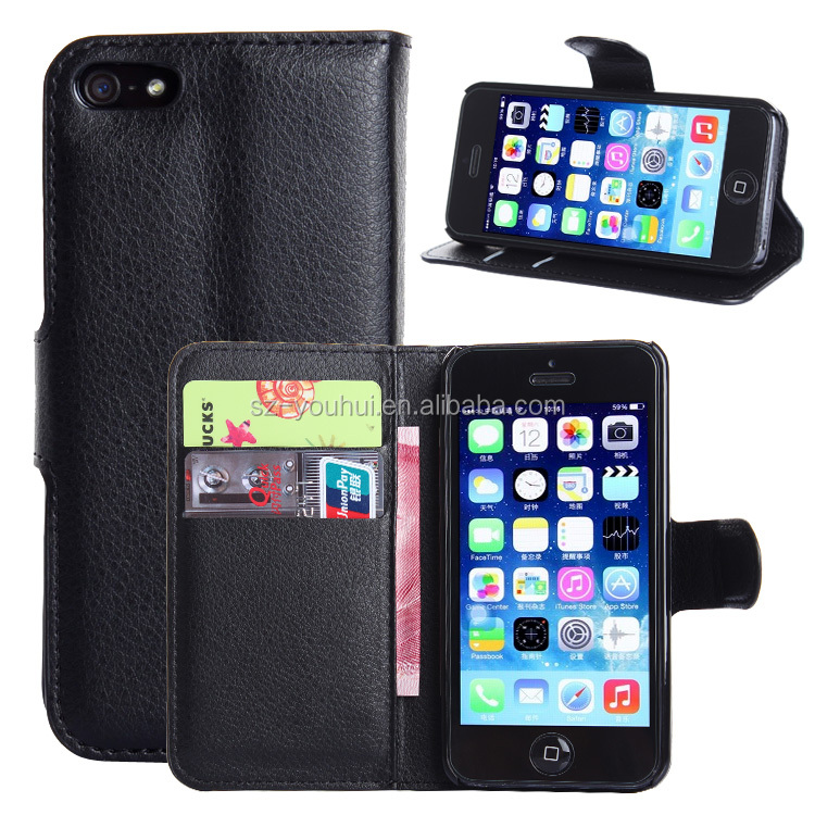 Wholesale Folio Stand Case for iPhone 5 5s PU Leather Flip Cover with Wallet