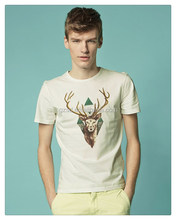 Supplier china bulk sale cutsom deer print t shirt with high quality