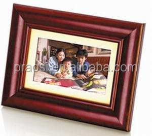"simple function 7"" size wood material slide show digital photo frame, support SD USB"