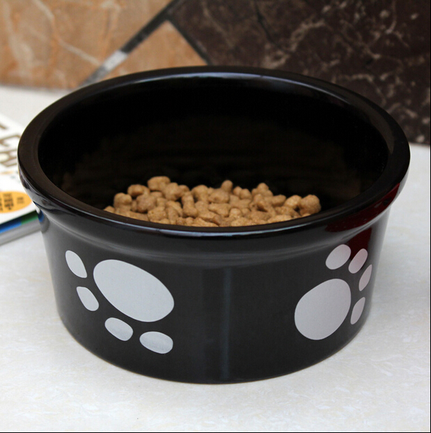 Haonai thicker dog bowl 6.2 inch stoneware pet bowl travel dog bowl