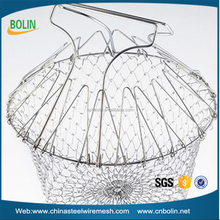 cooking tools stainless steel foldable basket strainers