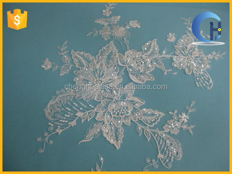 Gold color lace appliques designed for wedding dress fabric(CH15056)