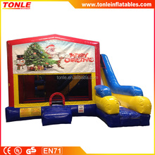 most popular Christmas Tree inflatable Bounce Slide Combo, inflatable jumping castle with slide for sale
