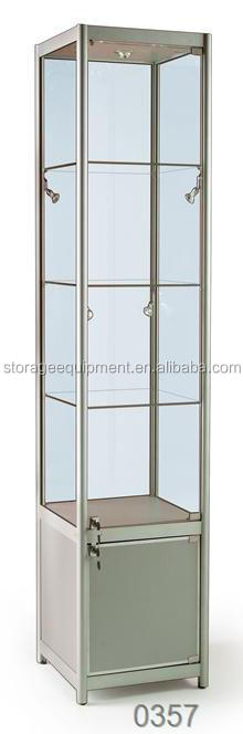 Lockable crystal display cabinet with storage cabinet