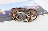 The Butterfly Watch Strap Buckle Bracelet Handmade Leather Vintage Beaded Bracelet