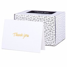 Thank You Cards with Gold Text on White Paper - With Envelopes
