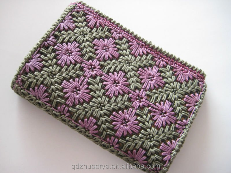 Printed paper straw crochet cosmetic bag for women
