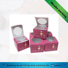 custom made fancy cardboard Coated paper cake box with circle window wholesale