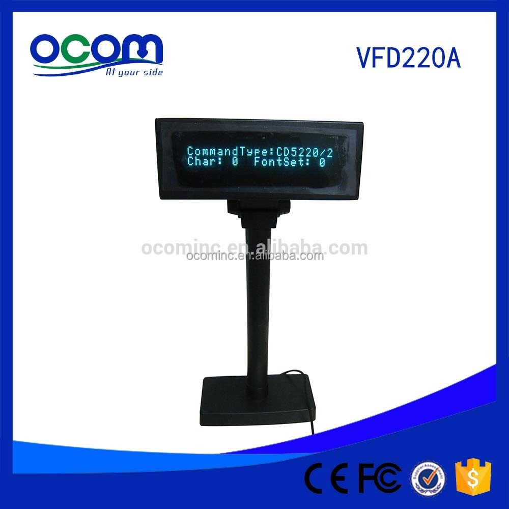 Hot Selling Double Line Serial USB Port Optional Small Alphanumeric VFD Customer Pole Display With Stanle Stand