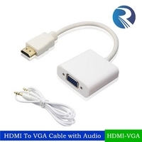 high quality hdmi to vga cable with 3.5mm audio factory price hdmi2vga converter cable hdmi to vga with aux for network box