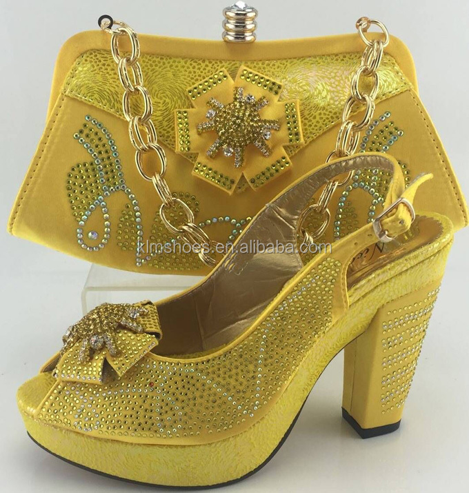High Quality Dress Shoes And Bag Set PU Leather Material Elegant Italian African Women Shoes And Matching Bags Yellow ME3315