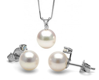 SET516 925 Silver AAA Elegant Natural Shell Pearl Pendant and Earring Sets
