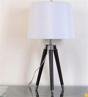 2016 America style top selling leather stainless steel tripod desk lamp with white cylinder lampshade for indoor household SAA