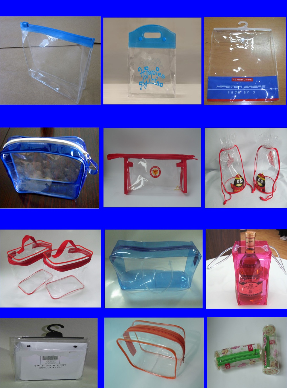 Frosted PVC button underwear bag with hanger