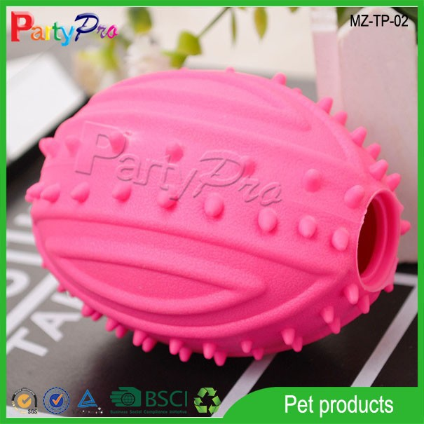 2015 Eco-friendly Non Toxic Durable Pet Rugby Ball Chew Toy Soft Plastic Cat Dog Toy
