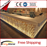 Golden flame charming design artificial marble restaurant bar counter