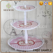 wedding accessory 3 tier heart shape wedding cake stand