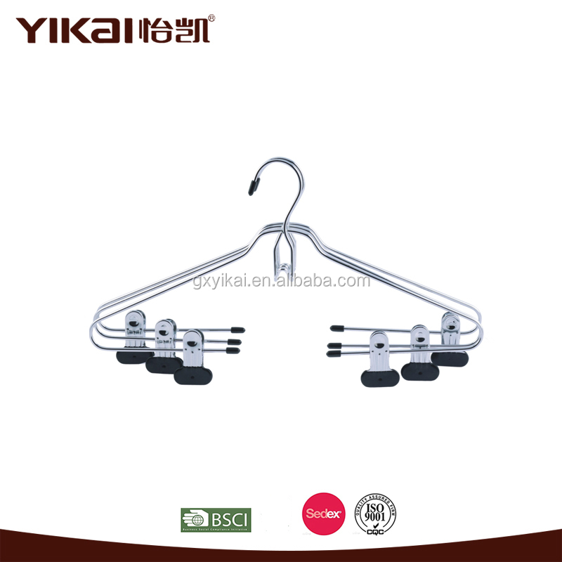 super shop metal chrome plated cloths hangers with clips